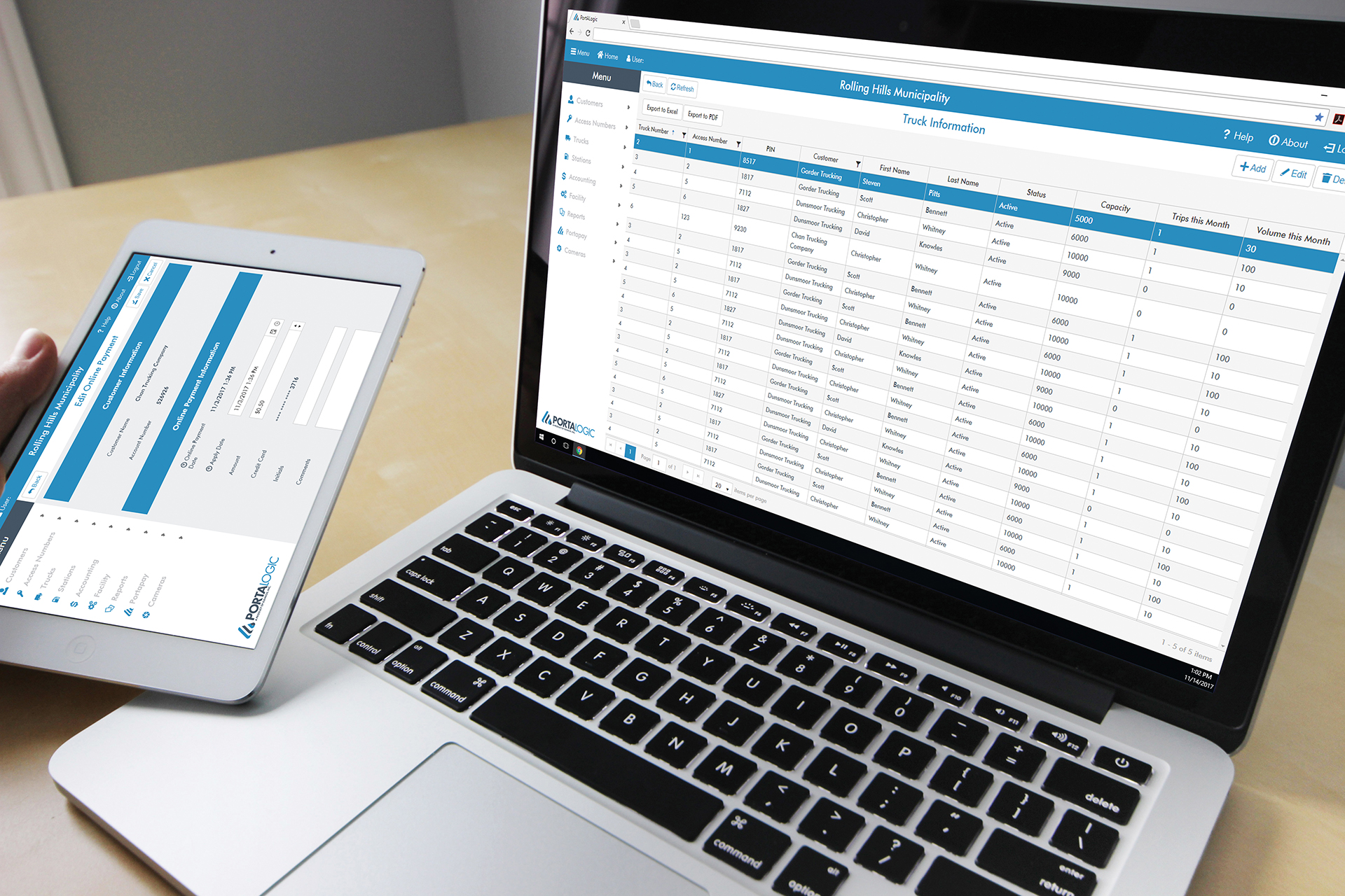 Portalogic management software can be viewed on both PC and tablet.