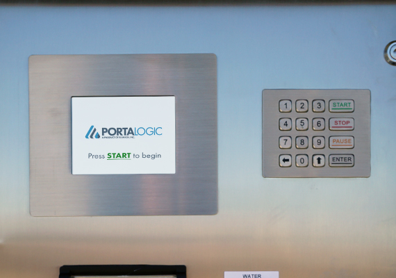 A Portalogic station with touch screen display driven by Portalogic software